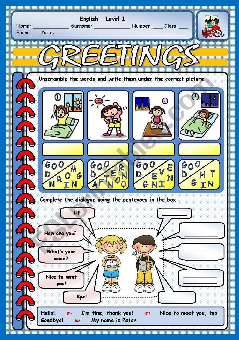GREETINGS worksheet