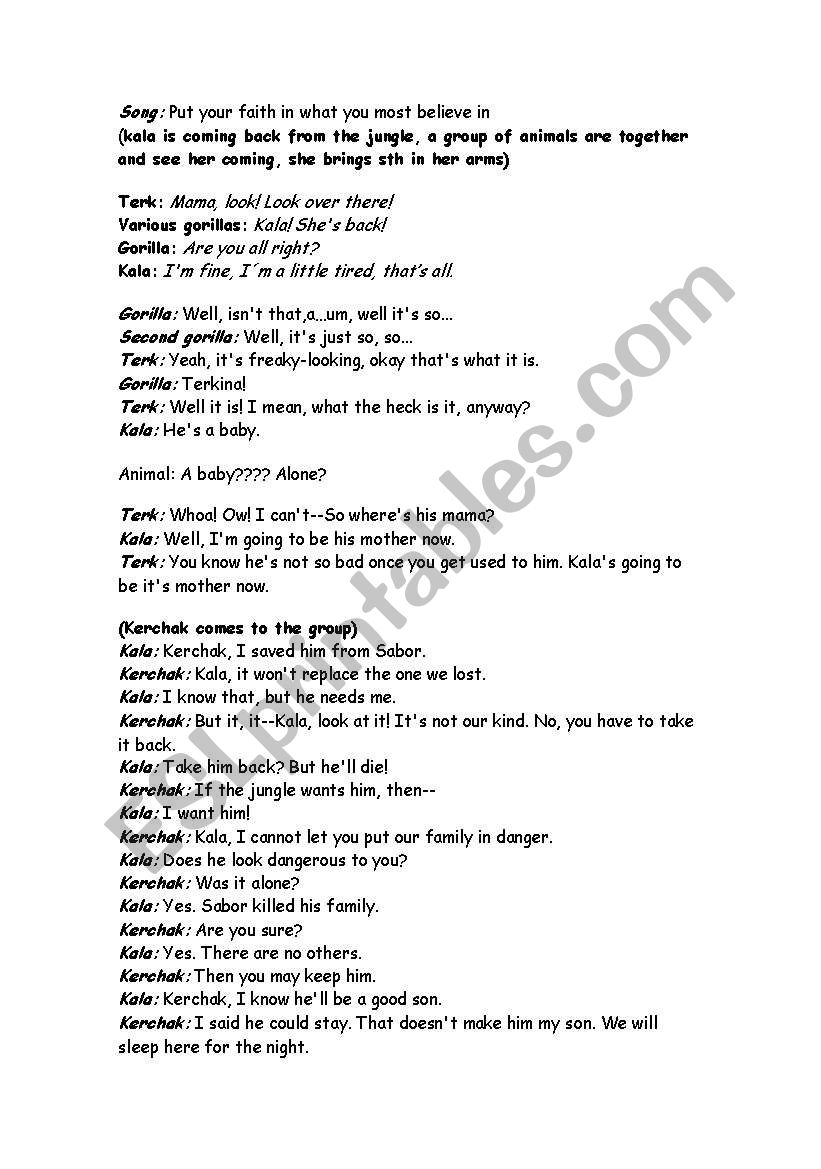 Play Tarzan worksheet