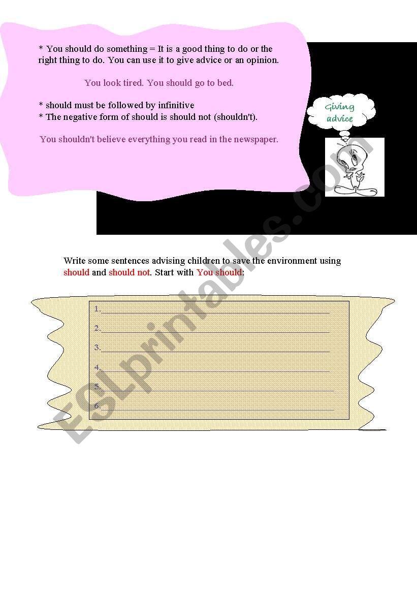 Advice worksheet