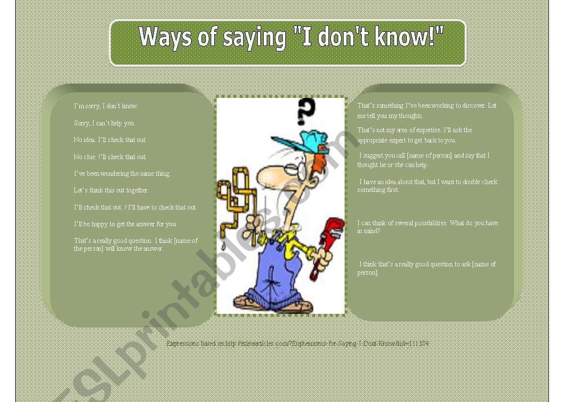 Ways of saying