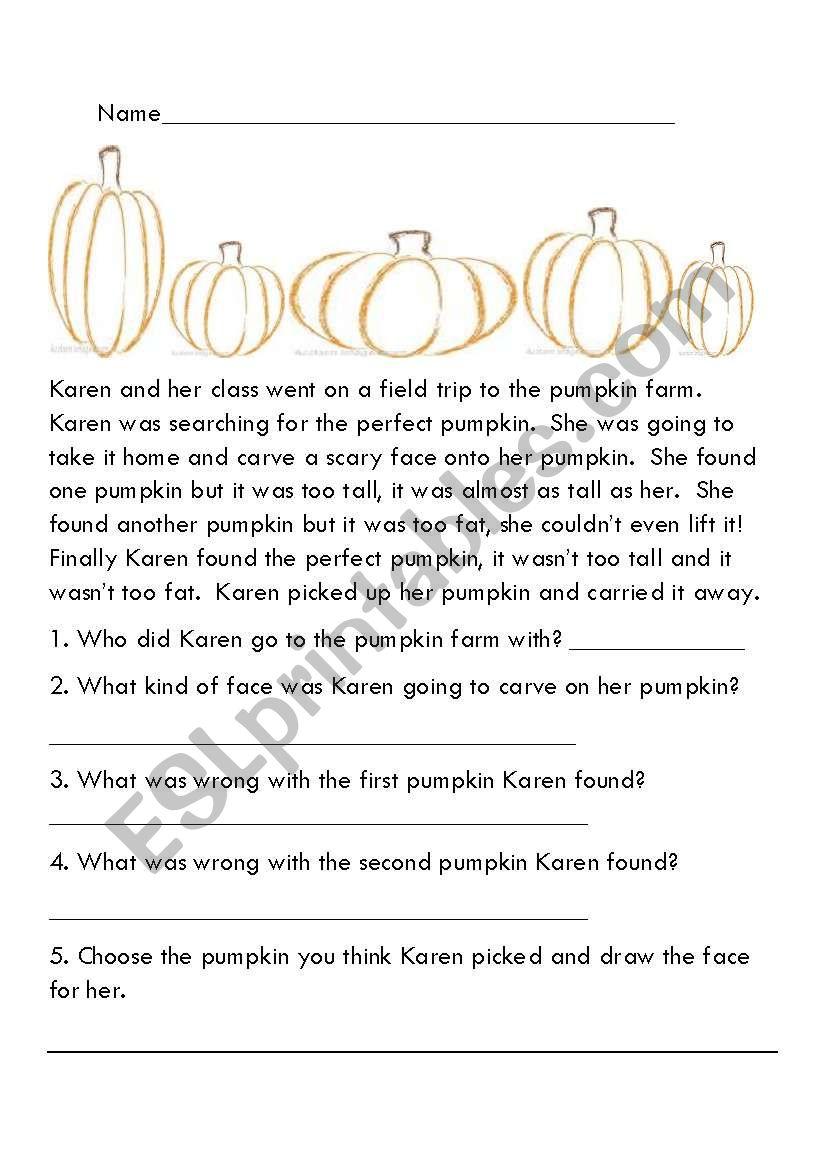 Fall comprehension stories worksheet