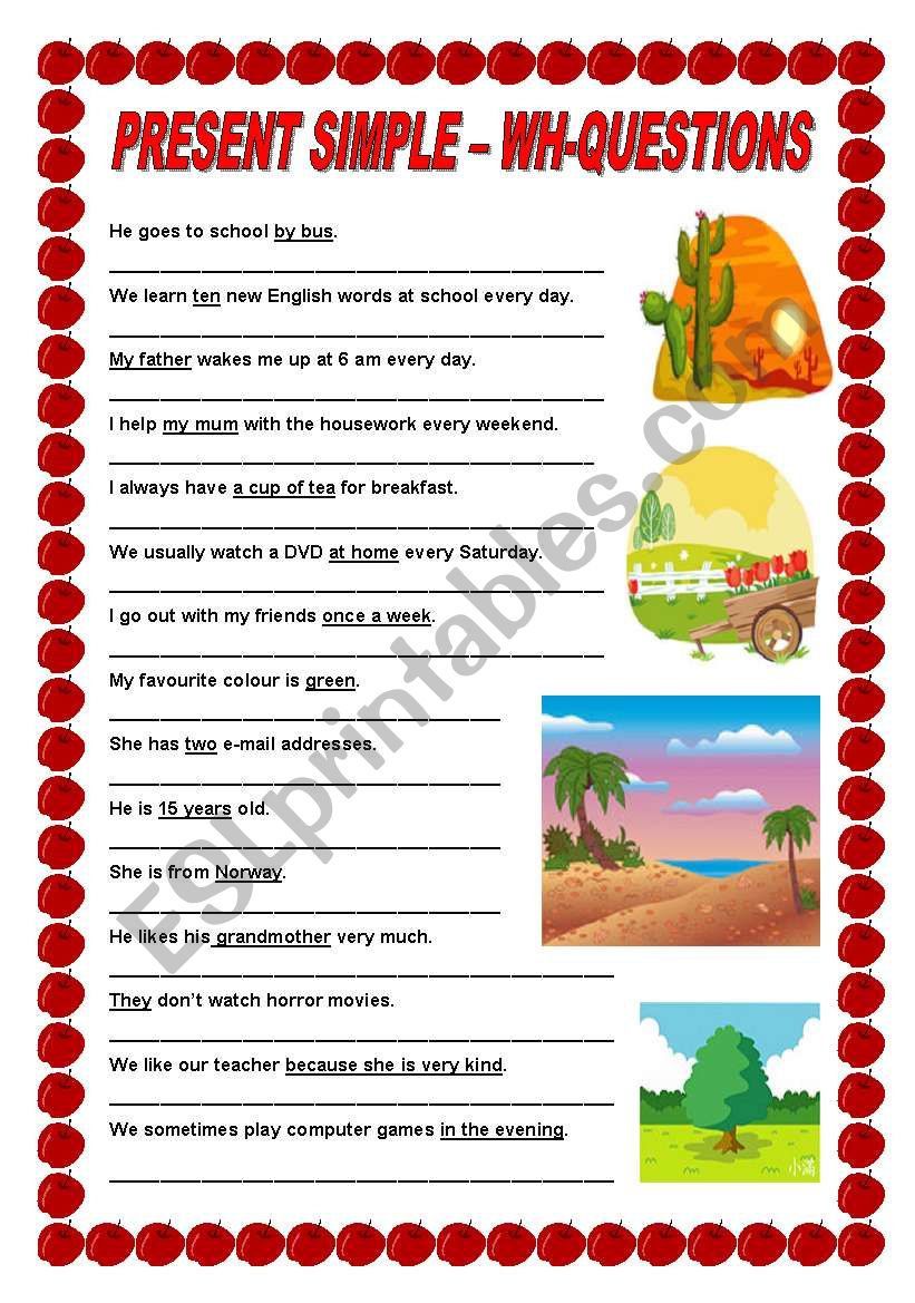 Present Simple - Wh-questions - ESL worksheet by ildibildi