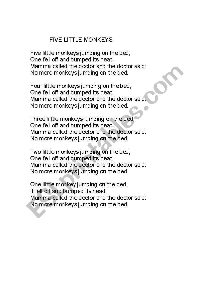 Five little monkeys song - Lyrics