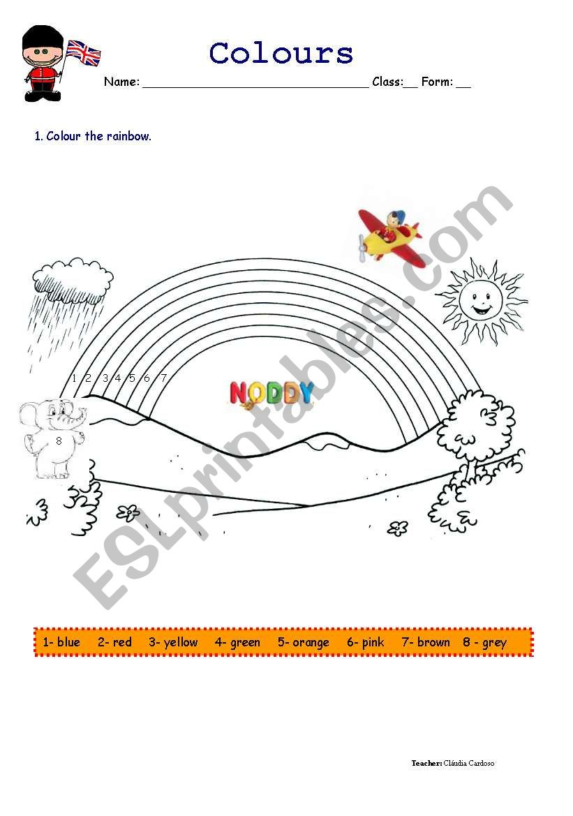 Noddy and the Rainbow worksheet