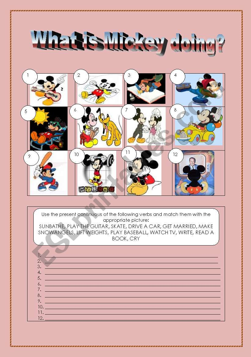 What is Mickey doing? worksheet