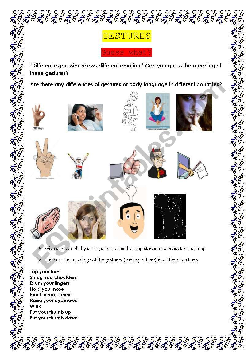 English Worksheets Gestures And Body Language