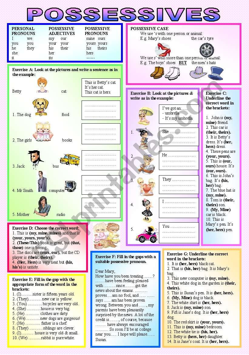"POSSESSIVES - Personal Pronouns, Possessive Adjectives, Possessive Pronouns - Teach students ""when, where & how"" to use ""Possessives"" - elementary/intermediate - (( 5 Exercises, 40 sentences )) - (( B&W VERSION INCLUDED ))"