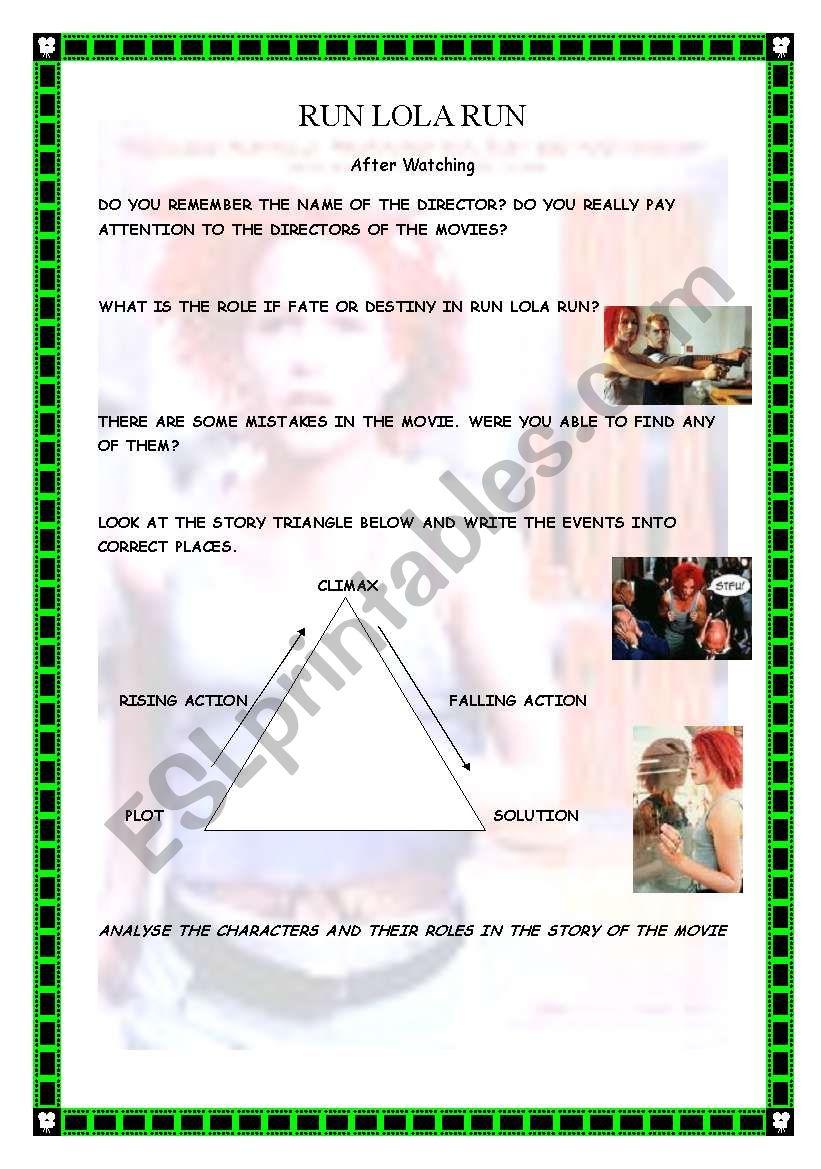 English worksheets: Run Lola Run After watching worksheet