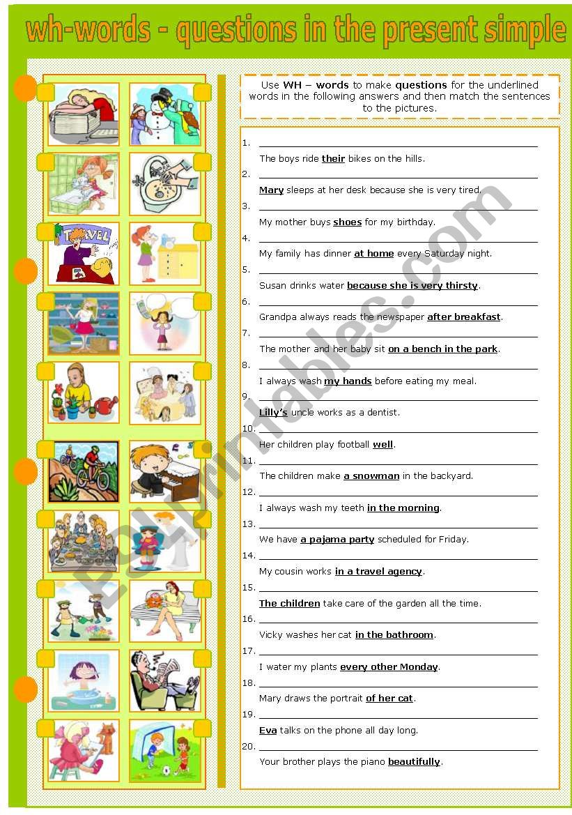 WH - WORDS - MAKING QUESTIONS IN THE PRESENT SIMPLE