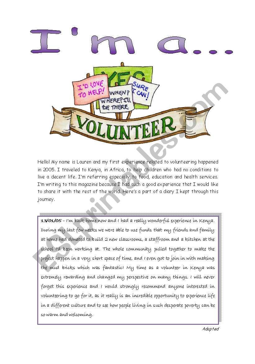 Reading - I´m a volunteer worksheet