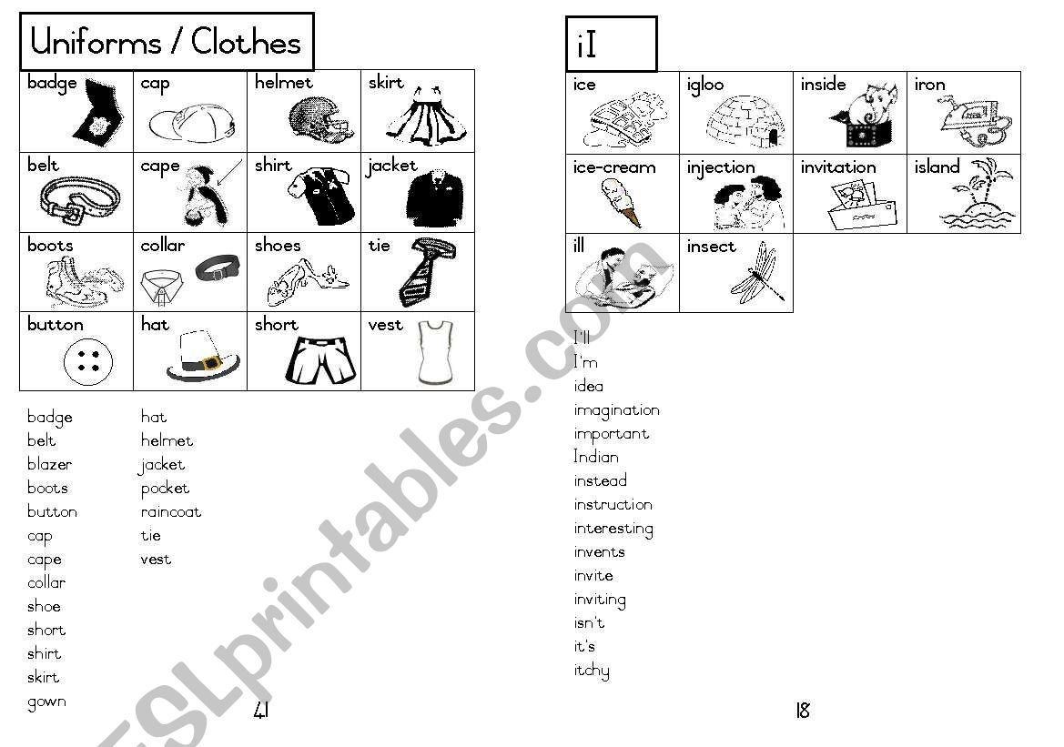 A5 Picture Dictionary 19 worksheet