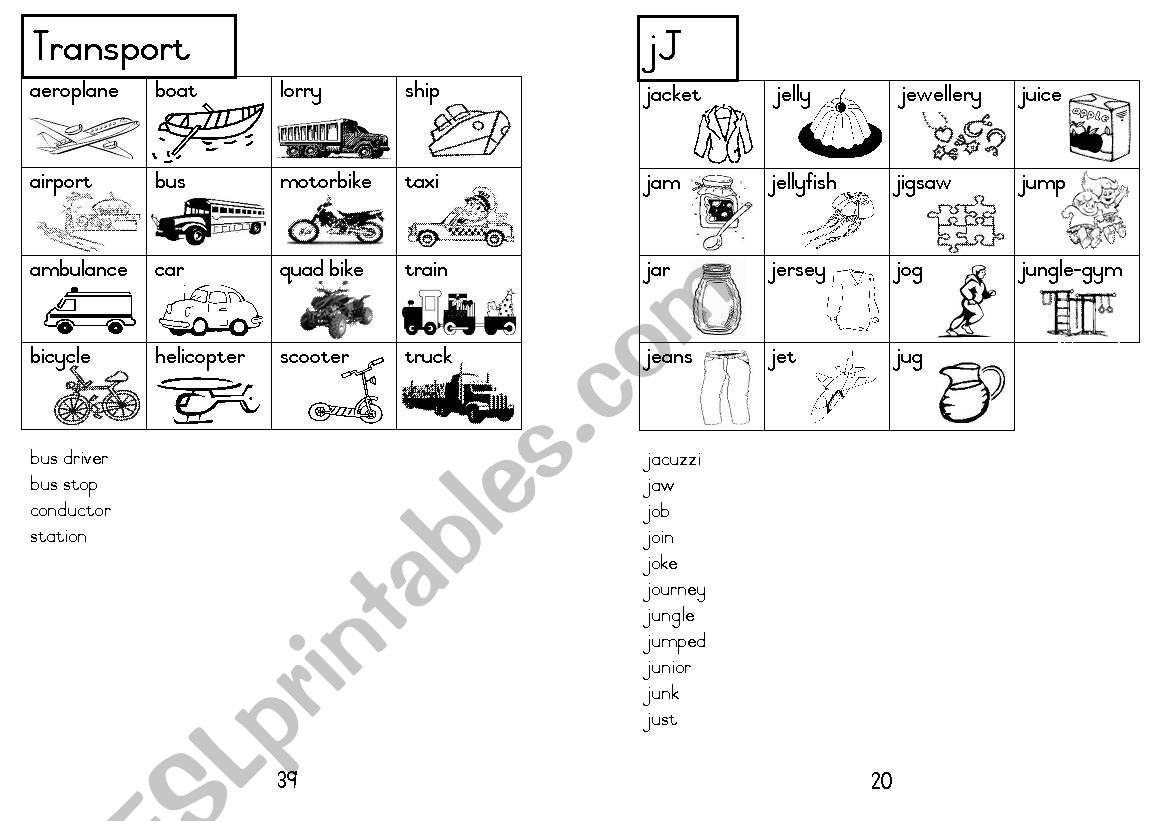 A5 Picture Dictionary 21 worksheet