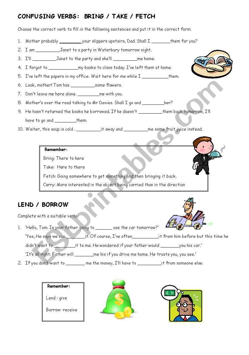 Confusing Verbs Bring Fetch Take Borrow And Lend Esl