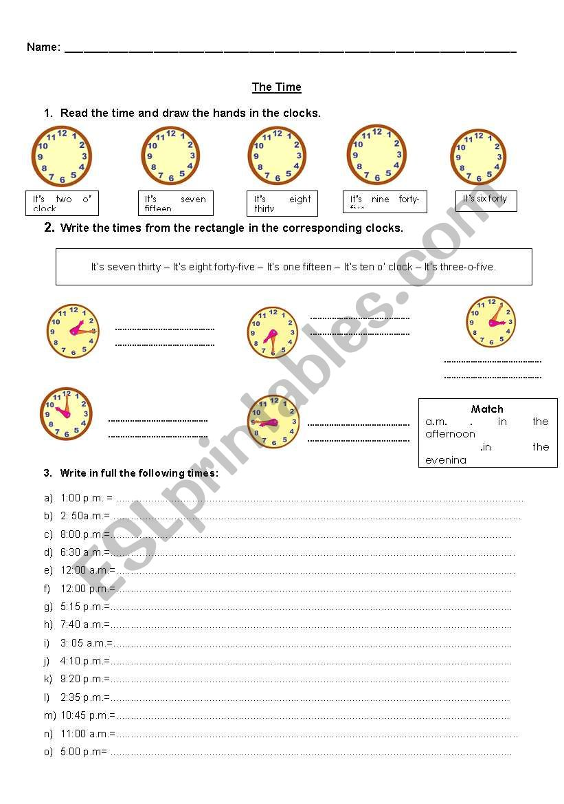 Hours worksheet