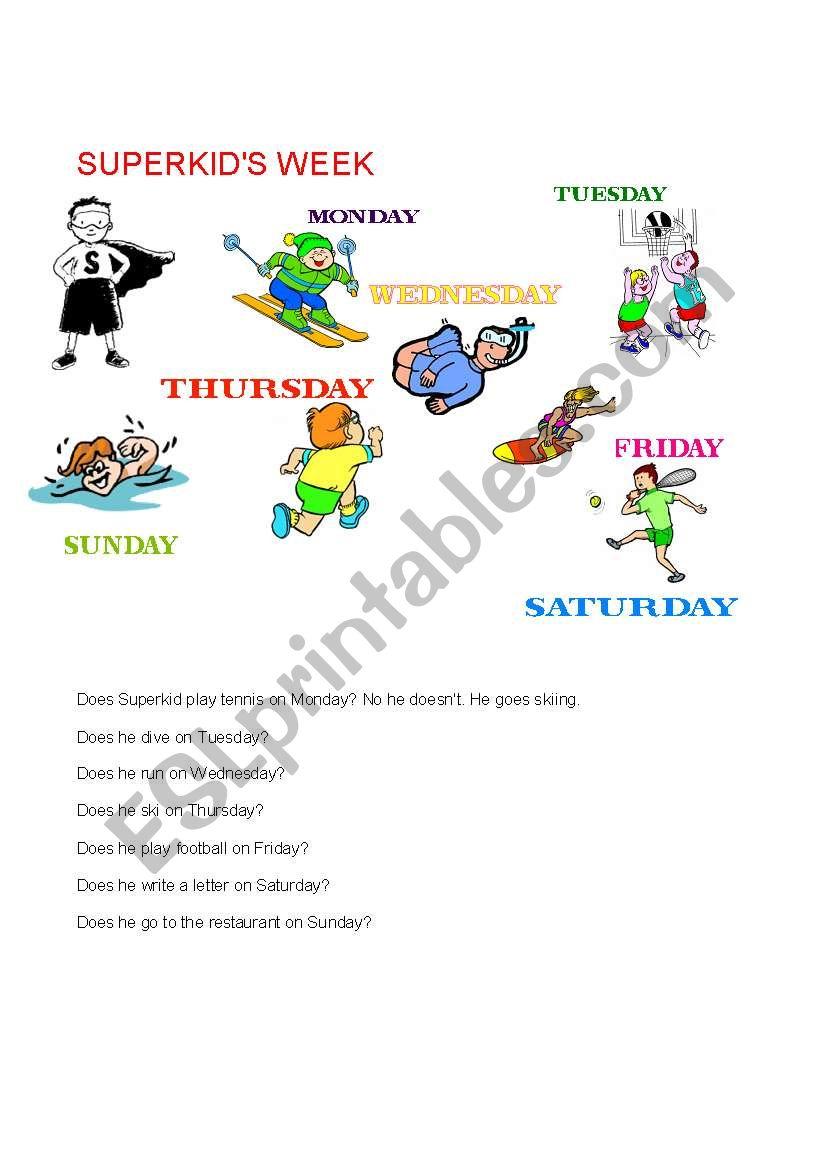 Superkid´s week worksheet