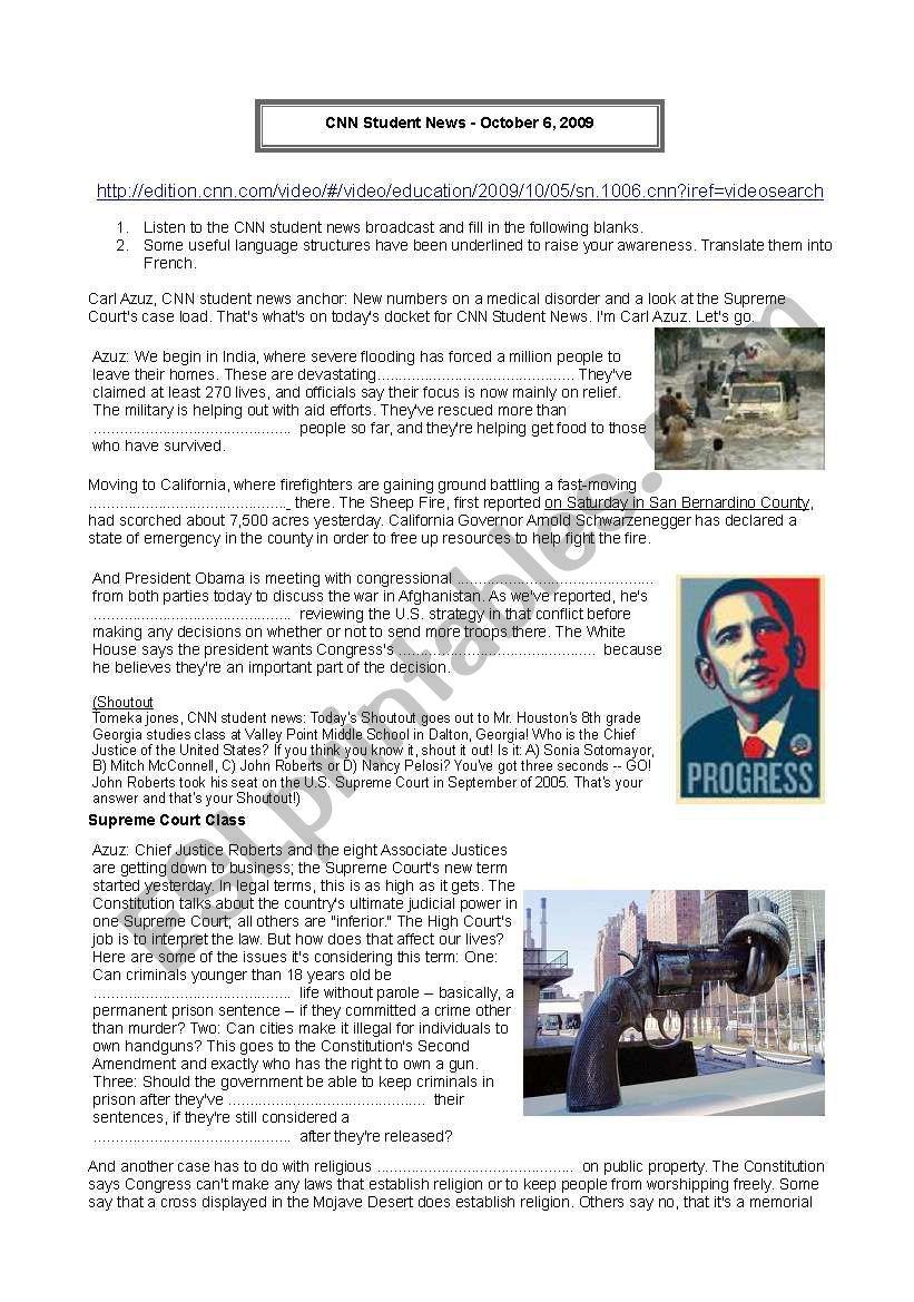 Cnn Student News Esl Worksheet By