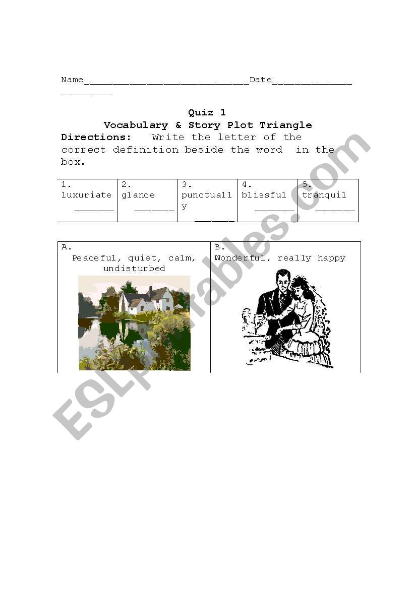 vocabulary and short story plot structure quiz for Lamb to the