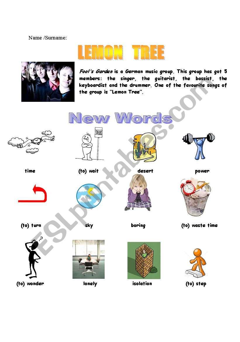 lemon tree worksheet