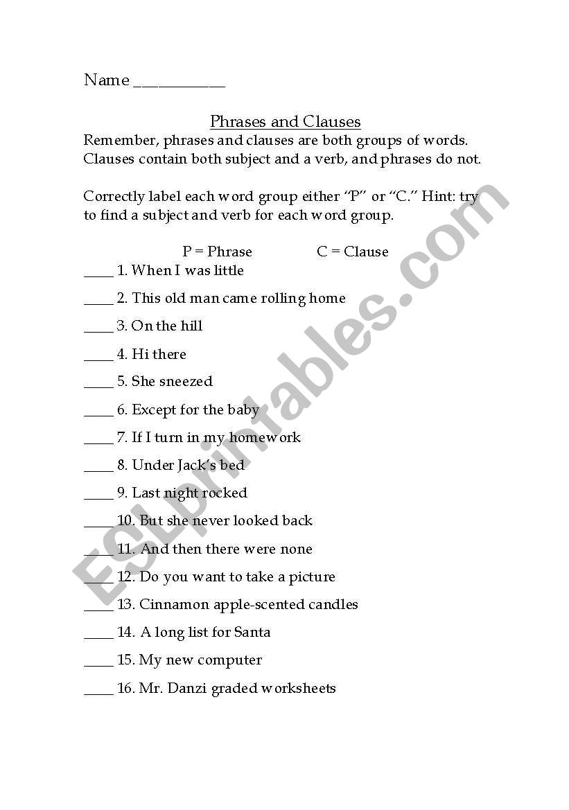 Worksheets Clauses And Phrases Worksheets identifying phrases and clauses practice sheet esl worksheet by sheet