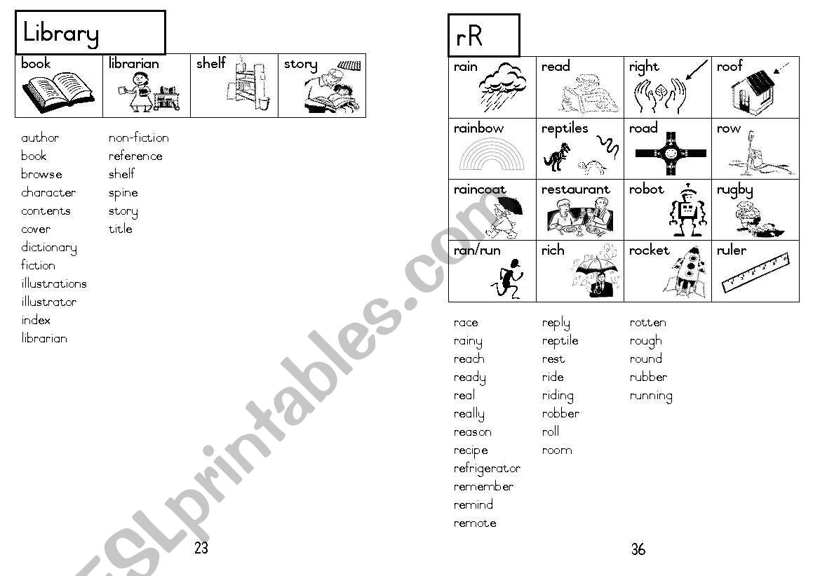 A5 Picture Dictionary 24 worksheet
