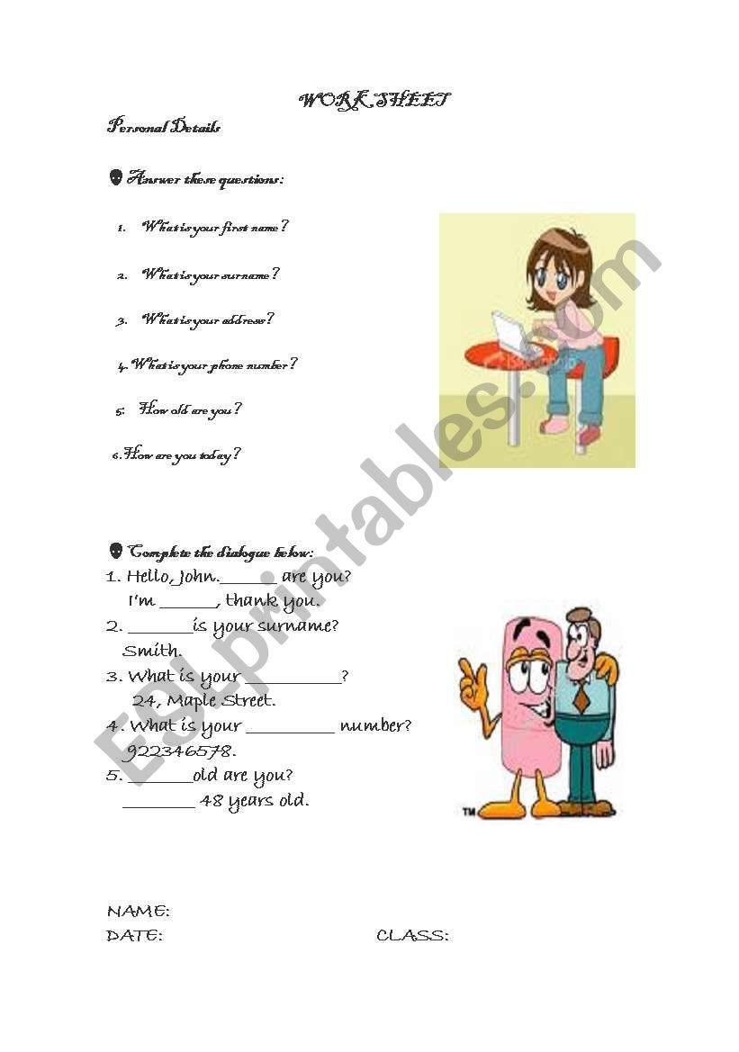 Personal Details worksheet