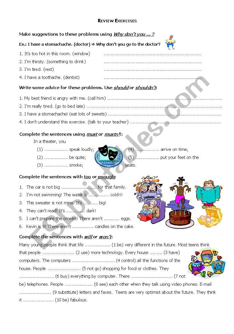 Review exercises: modals worksheet