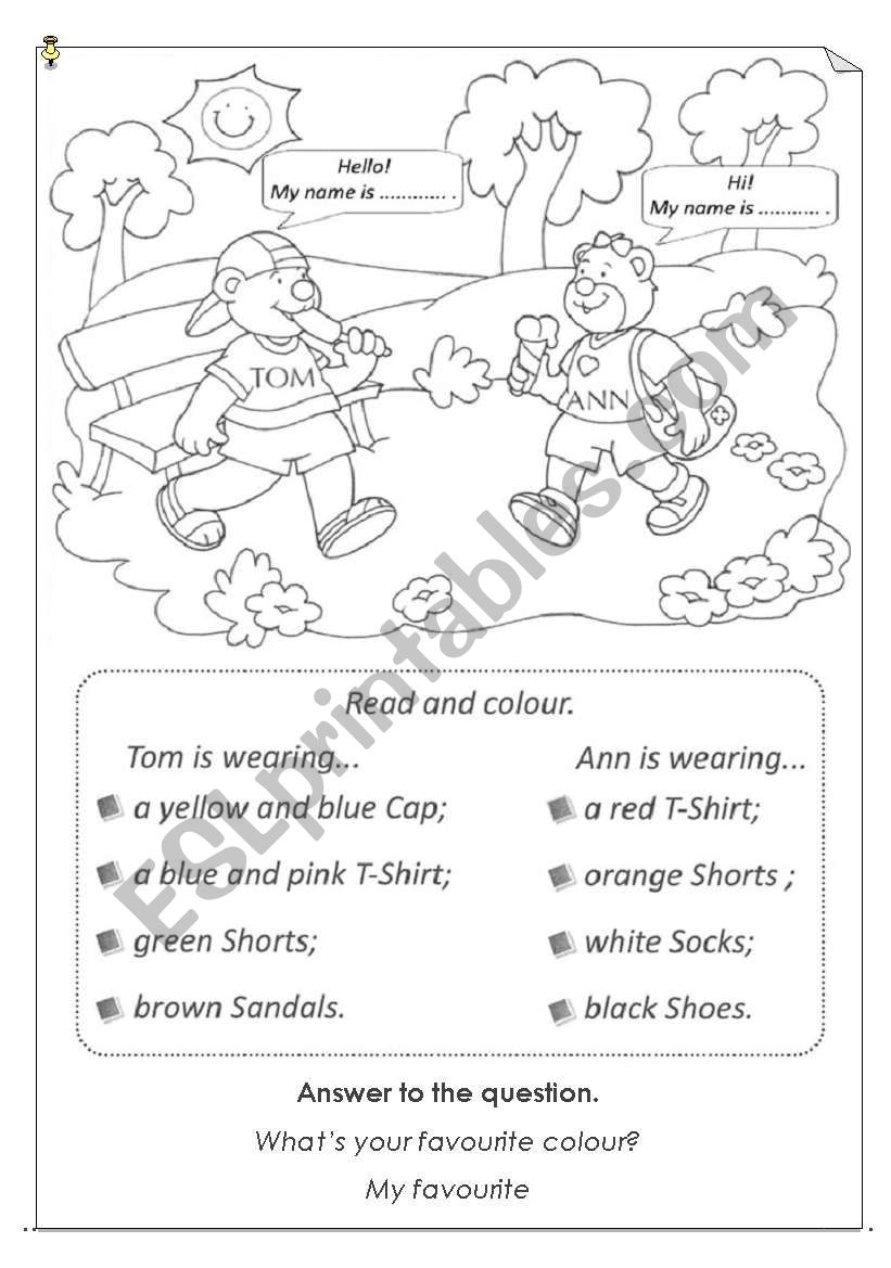 Read and colour clothes worksheet