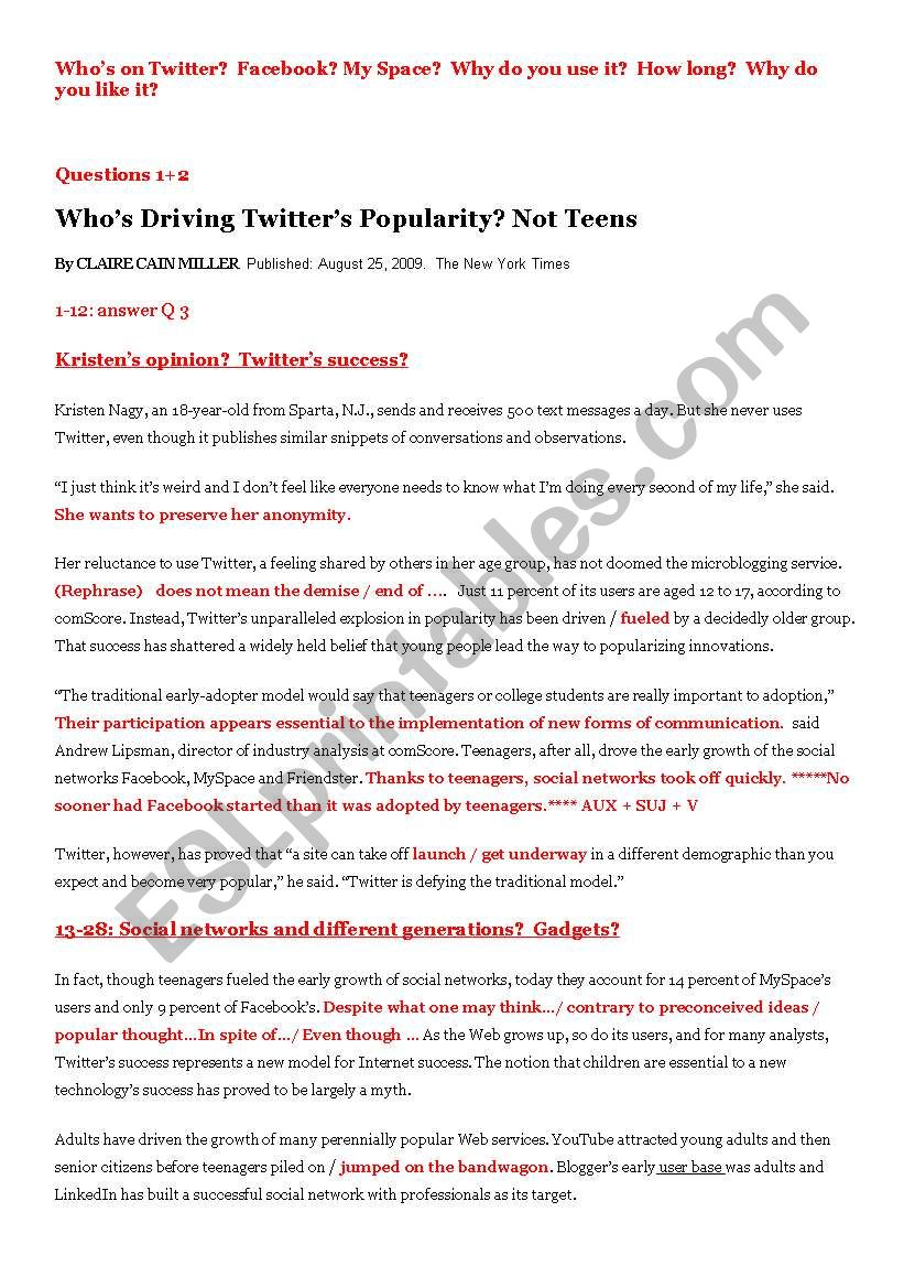 Facebook and Twitter lesson plan