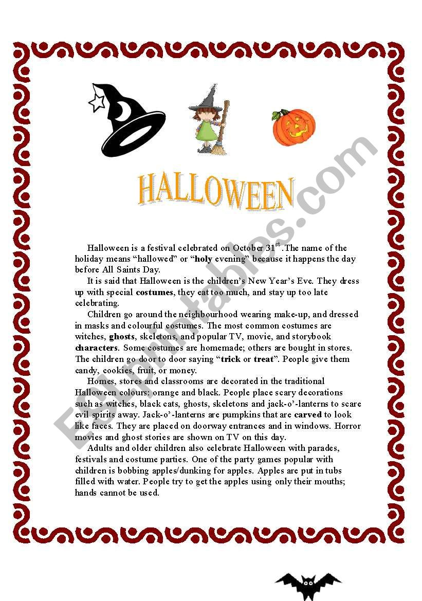 - HALLOWEEN - Reading Comprehension (+activities) - ESL Worksheet By