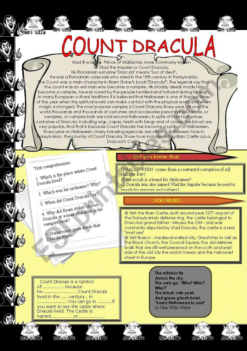 Count Dracula and Halloween  worksheet