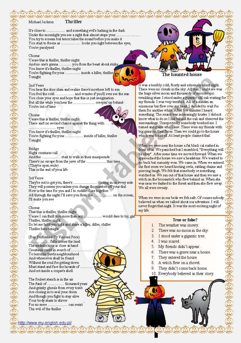 HALLOWEEN - reading and listening comprehension