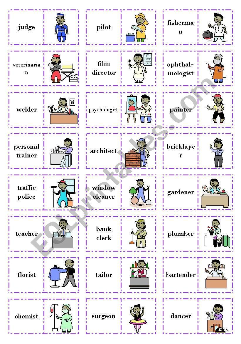 Let´s play dominoes! Set 3 - Jobs (2/3)