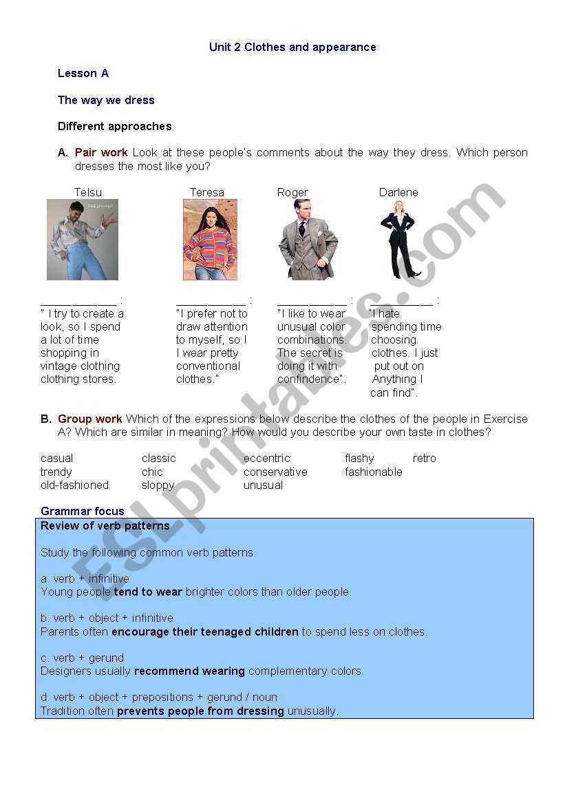 Clothes and appearance worksheet