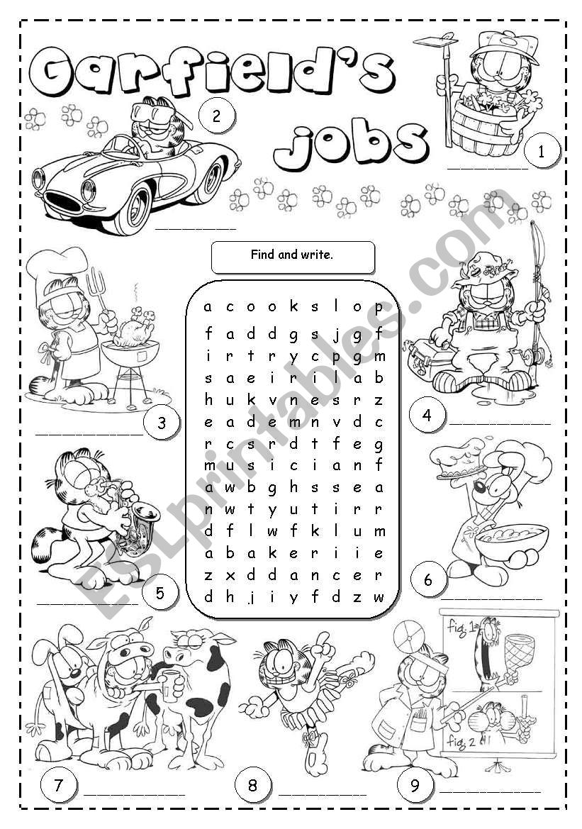Garfield´s jobs worksheet
