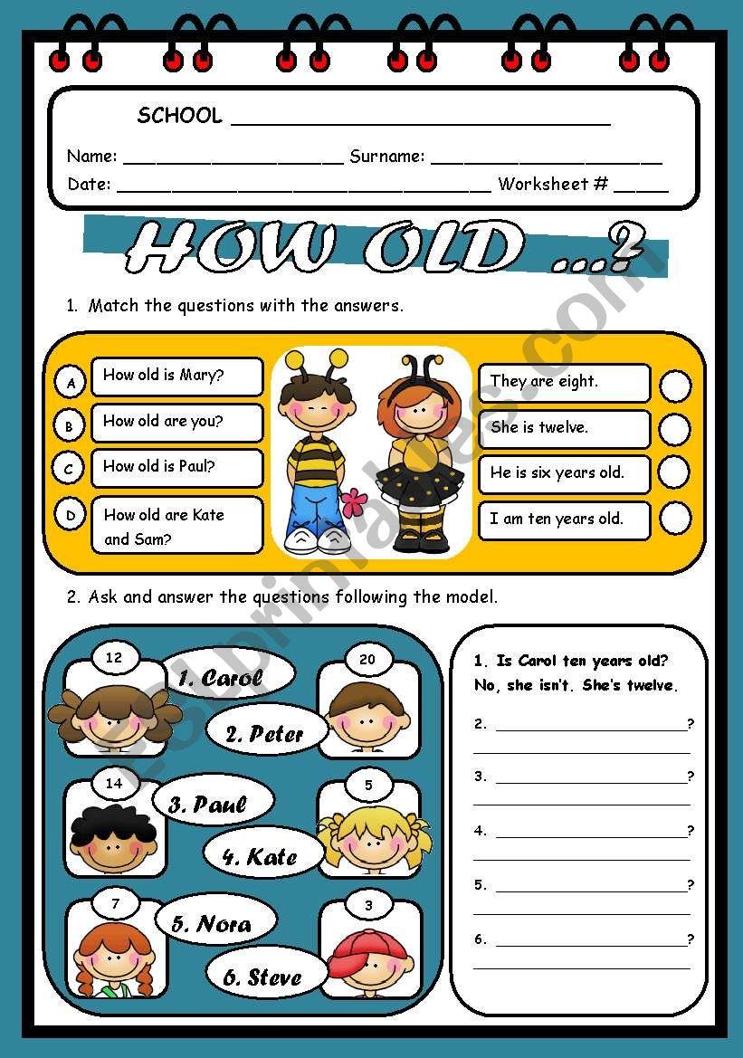 HOW OLD...?  worksheet