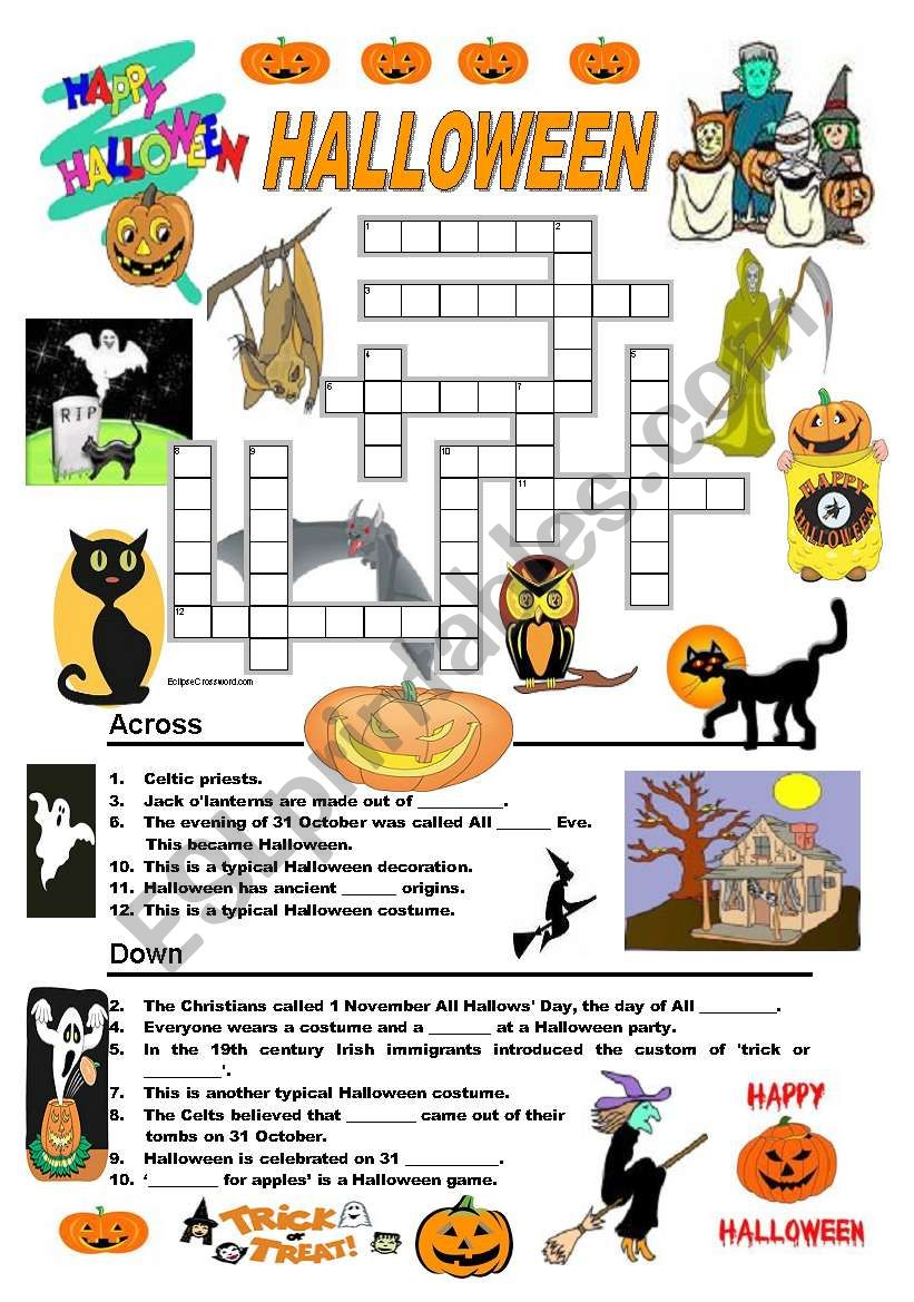 Halloween - crossword worksheet