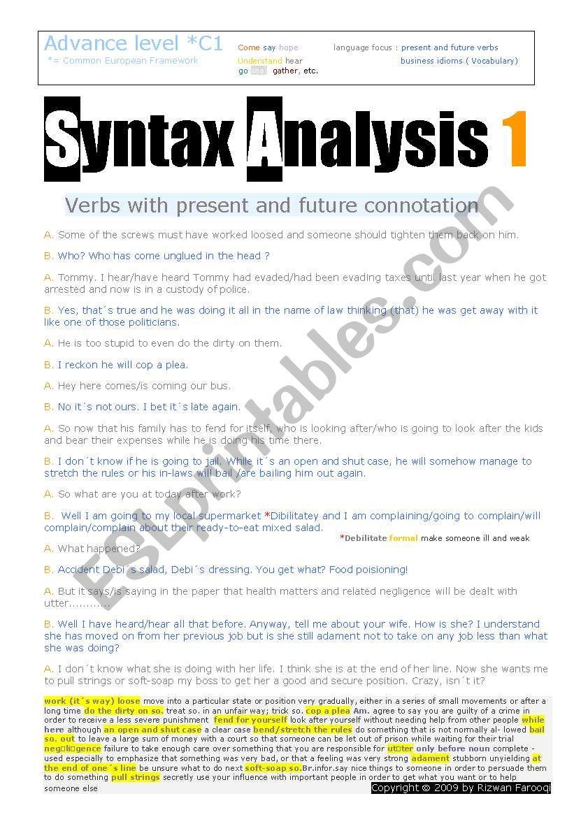 Worksheets Syntax Worksheets syntax analysis esl worksheet by germanic worksheet