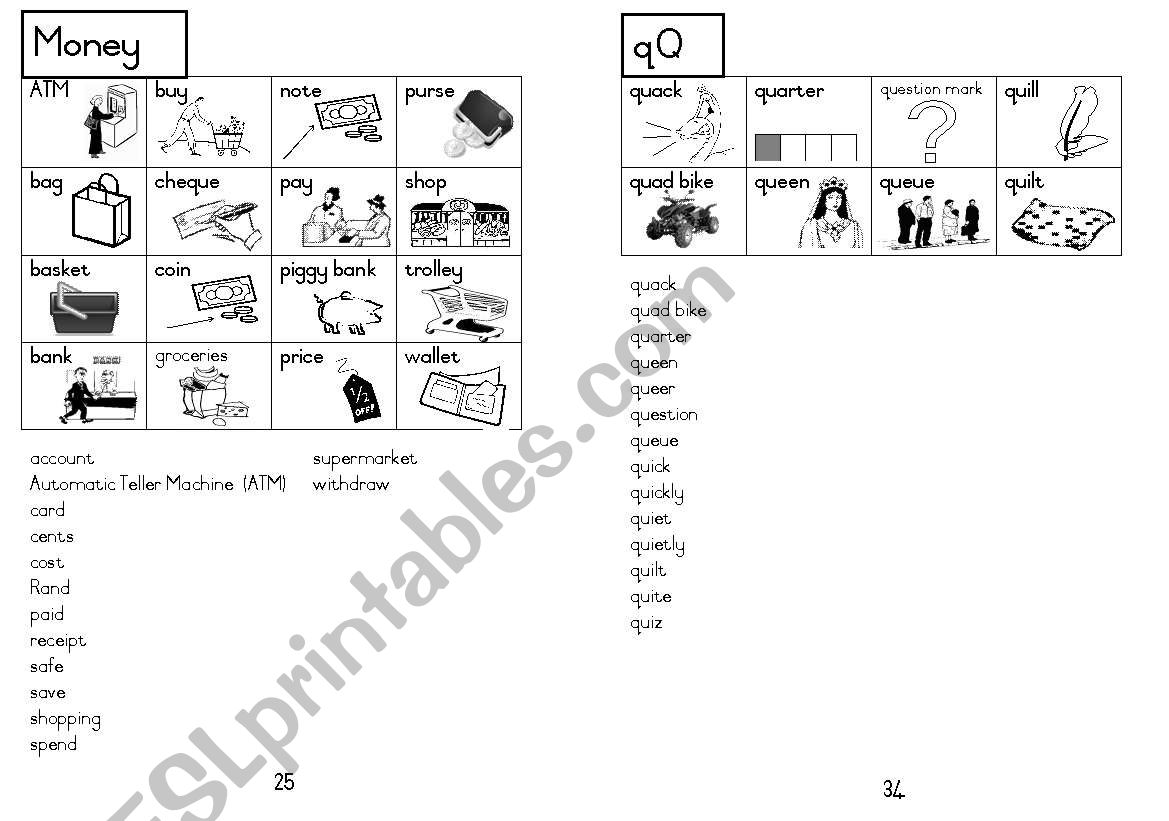 A5 Picture Dictionary 26 worksheet