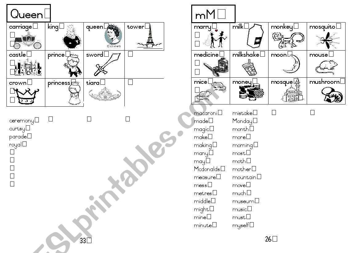 A5 Picture Dictionary 27 worksheet