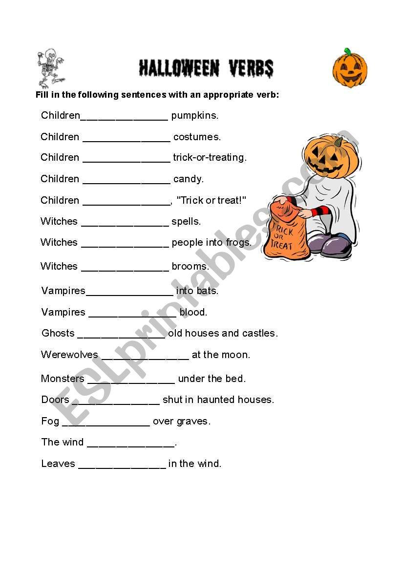 english worksheets  halloween verbs