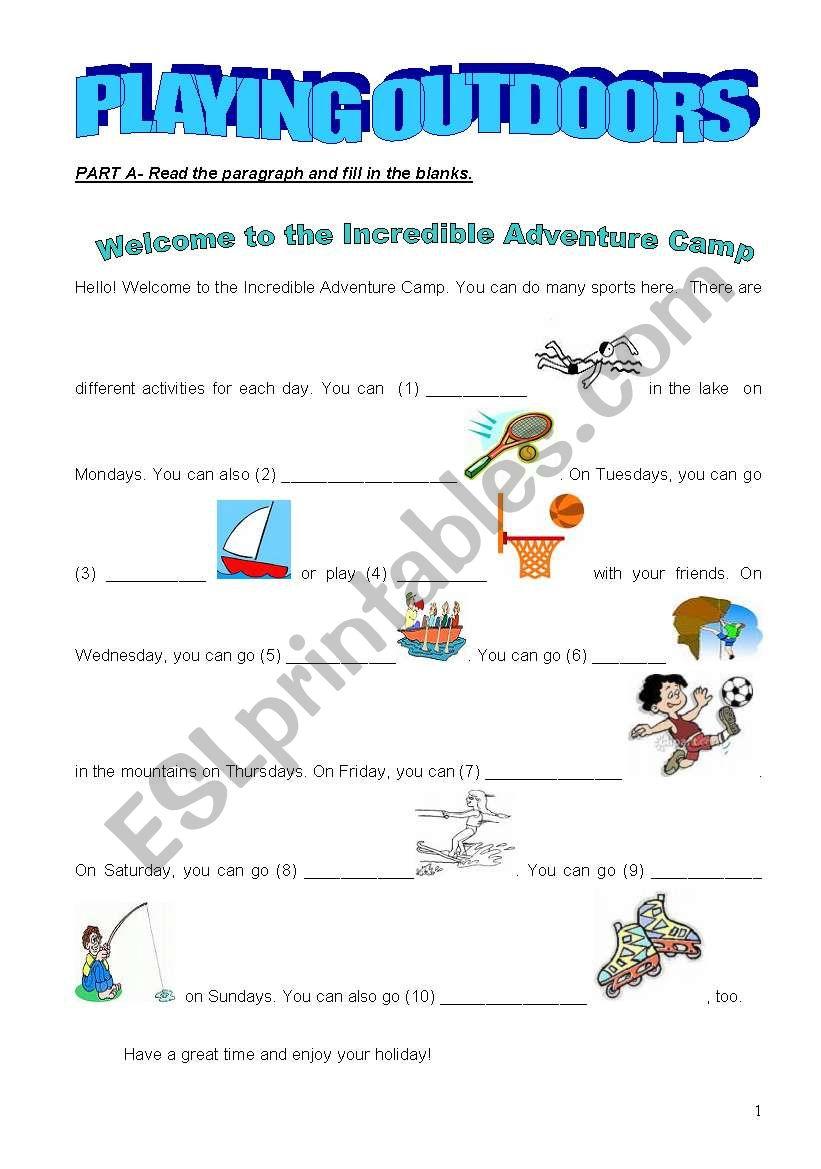 OUTDOOR ACTIVITIES - ESL worksheet by aavci