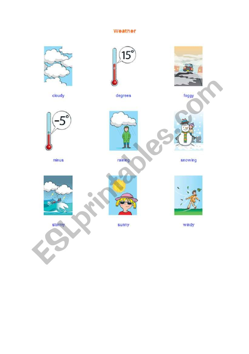 weather picture dictionary worksheet