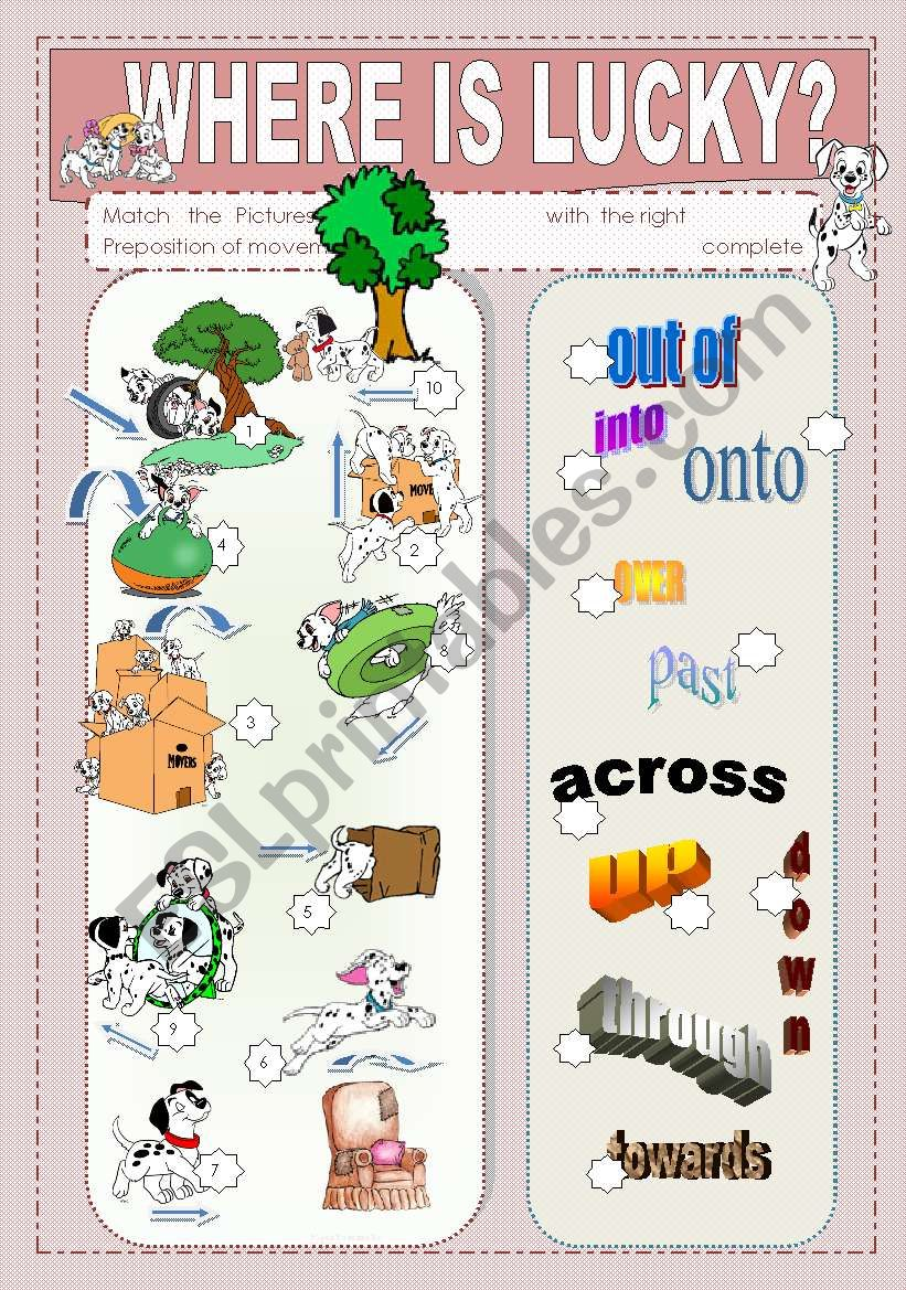 prepositions of movement worksheet pdf