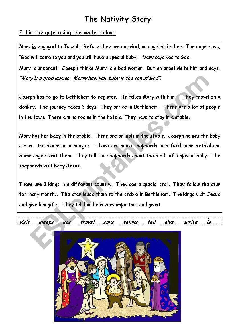 The Nativity Christmas Story Esl Worksheet By Tuktuk07