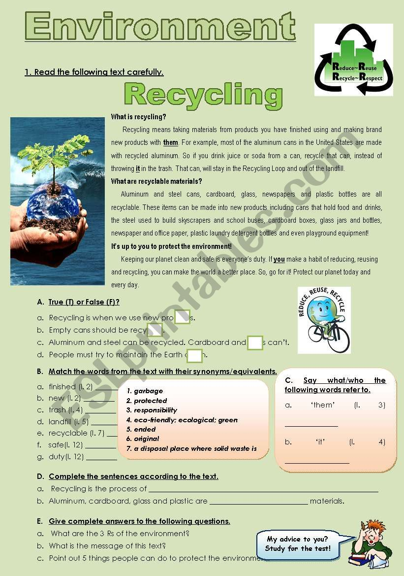 ENVIRONMENT - RECYCLING worksheet
