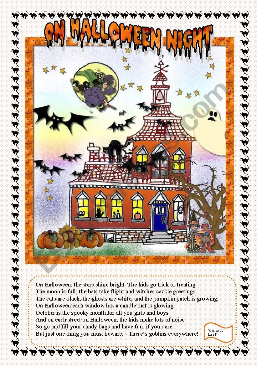 ON HALLOWEEN NIGHT worksheet
