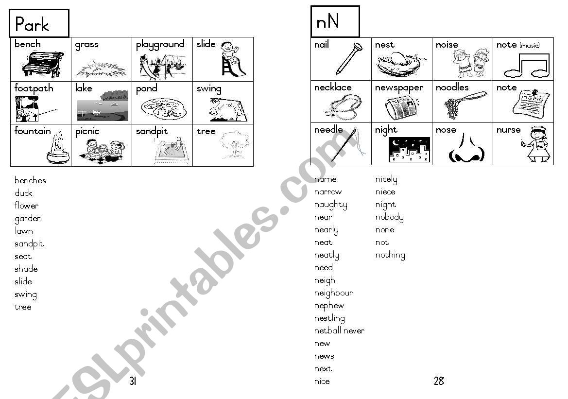 A5 Picture Dictionary 29 worksheet