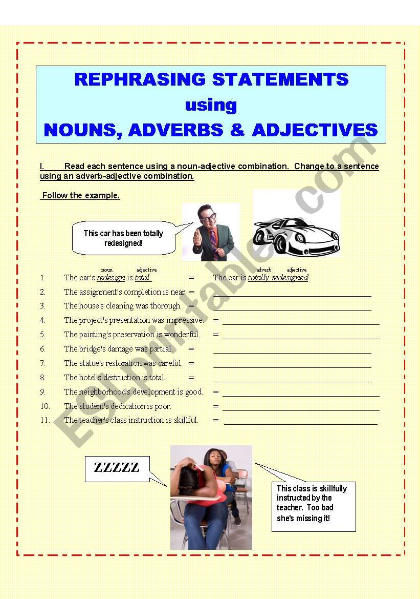 Verbal Skills:  Adjectives (2 pages, plus KEY)