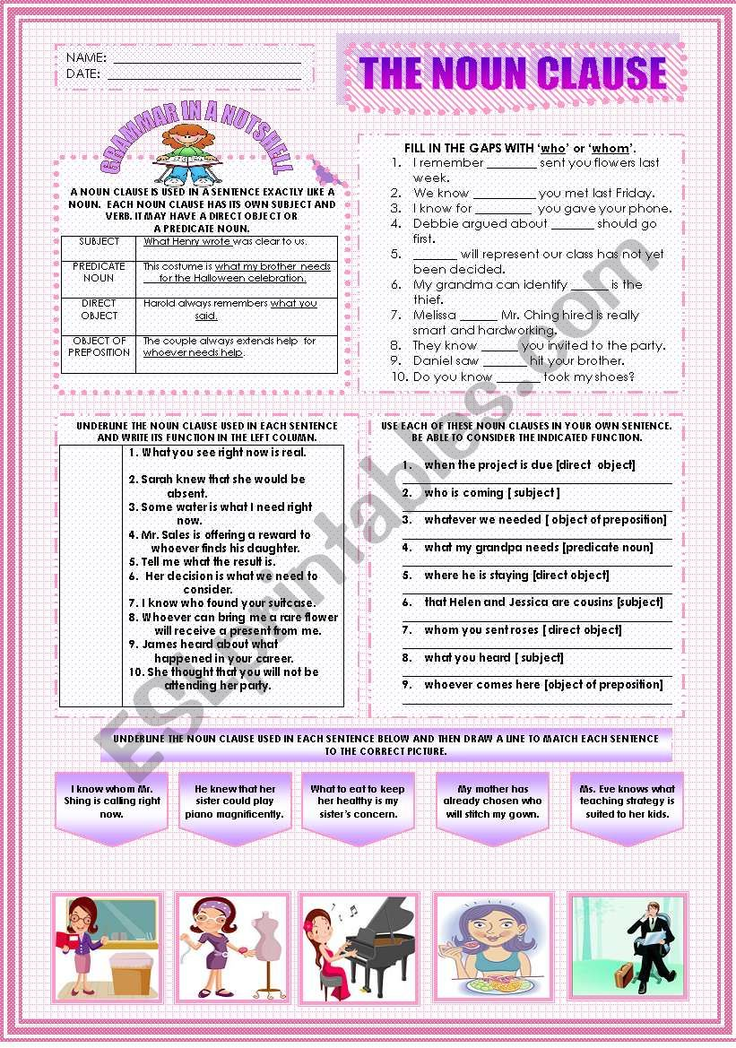 English Worksheets The Noun Clause