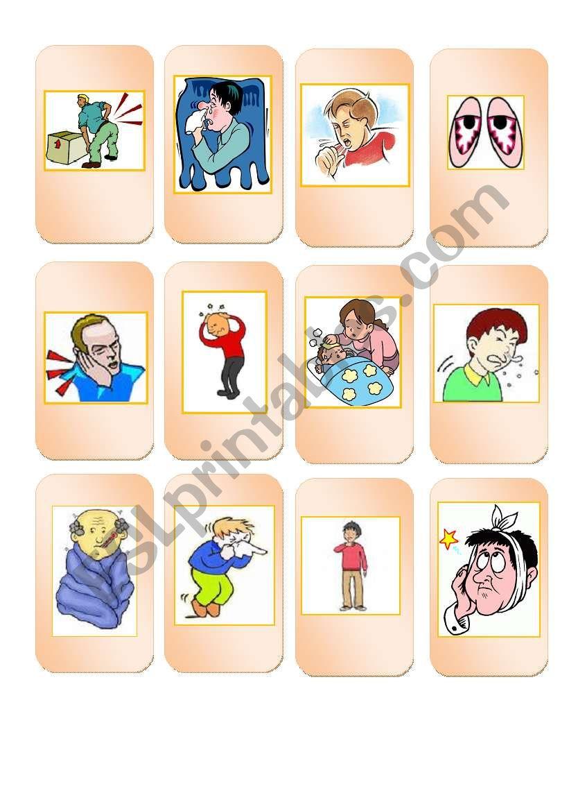 Card game Hhealth Problems worksheet